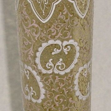 999674 Amber Vase W/Straight Sides, Fancy White & Gold Painting All