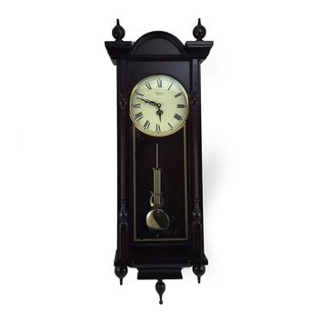 """Bedford Clock Collection Grand 31"""" Antique Mahogany Cherry Oak Chiming Wall Clock with Roman Numerals - Reconditioned"""