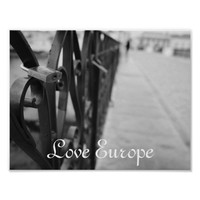 Poster: European Bridge and Love Lock. Love Europe Poster
