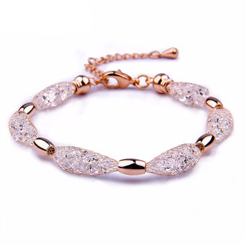 Rose Gold and Pink Crystal Bracelet