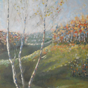 Autumn Nature Landscape Grassland Birch Original Oil Painting Living room Wall decor Interior Art Forest Field Russia Painter Custom Artwork
