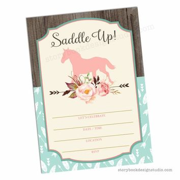 Saddle Up Baby Shower Fill In Invitations