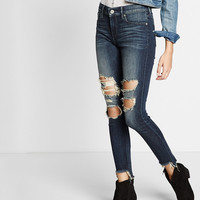 Mid Rise EXP Tech Distressed Ankle Jean Legging