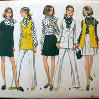 Vintage Misses' Jacket, Vest, Skirt, Pants, and Blouse in Size 12 Butterick 5683 Sewing Pattern Uncut