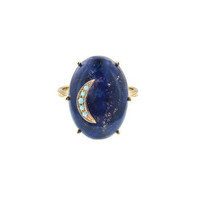 Oval Lapis Ring with Turquoise Crescent Moon
