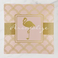 Flamingo Pink and Faux Gold Retro Pattern Modern Trinket Trays