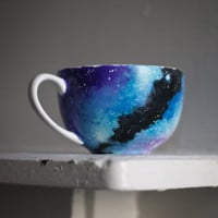 Galaxy Cappuccino Mug: Hand Painted Galaxy Coffee Mug, Soup Bowl