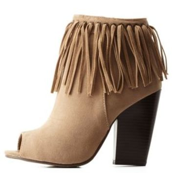 Beige Adriana New York Fringe Peep Toe Booties by Charlotte Russe