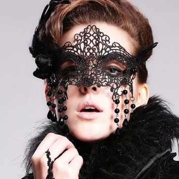 Gothic Victorian Lace Mask with Feathers and Charms Black