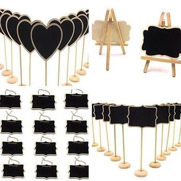 ZL_12PCS Mini Wooden Wedding Blackboard Chalkboard Label Table Number Sign Braw