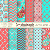 "Paisley Digital Paper: ""PERUVIAN MOSAIC"" Red Turquoise Pink paisley scrapbook paper for invites, cards, background - Buy 2 Get 1 Free"