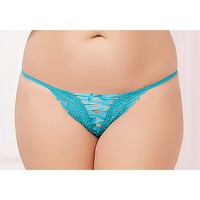 Plus Size Front Lace Up Thong Panties - Spencer's