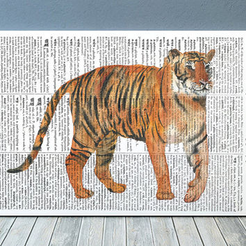 Tiger decor Wildlife poster Dictionary print Watercolor print RTA2084