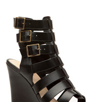 Black Faux Leather Strappy Sandal Wedges