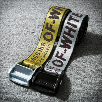 DCCK Off white metal head ribbon jacquard logo industrial belt ow transparent belt