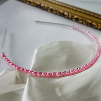 freshwater baby pink nugget pearl silver alice band for wedding bridesmaid or flowergirl