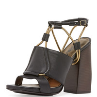 Leather Chain-Strap Block-Heel Sandal, Black