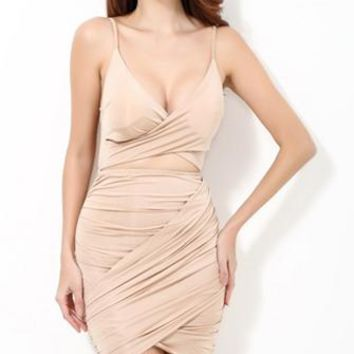 Atlantic City Nude Spaghetti Strap Sleeveless Cross Wrap V Neck Ruched Cut Out Tulip Bodycon Mini Dress
