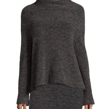 Kirk Funnel-Neck Sweater, Gray, Size: