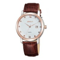 Men's Simple Rhinestone Accented Round Face Genuine Leather Strap Quartz Movement Calendar Watch Brown