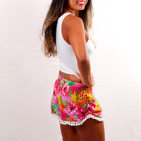 Wonderland Honolulu Pom Pom Shorts Hot Pink Hibiscus