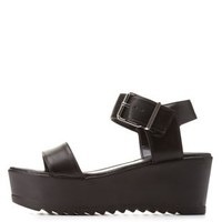 Black Lug Sole Single Strap Flatform Sandals by Charlotte Russe