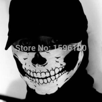 VONE2B5 New Halloween Skull Skeleton Outdoor Motorcycle Bicycle Multi function Headwear Hat Scarf Half Face Mask Cap Neck Ghost Scarf