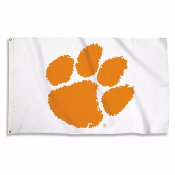"""Clemson Tigers White """"The Paw"""" 3' x 5'  Flag W/Grommets"""