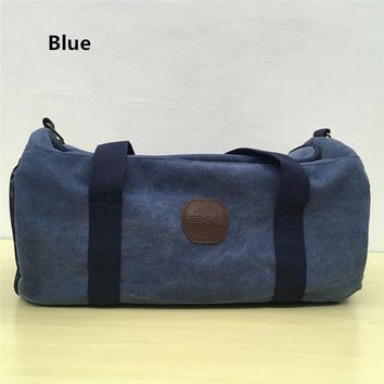 Sports gym bag TEMENA Large Canvas Sports Gym Bag For Men Women Travel Duffel Tote Luggage Bag With Strap AC16 KO_5_1
