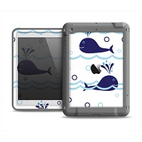 The Navy Blue Smiley Whales Apple iPad Mini LifeProof Fre Case Skin Set