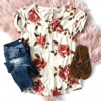 Oatmeal Floral Pocket Top