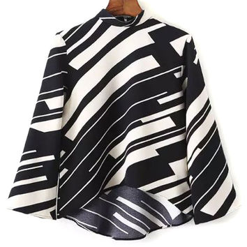 Monochrome High Neck 3/4 Sleeve Dipped Hem Blouse