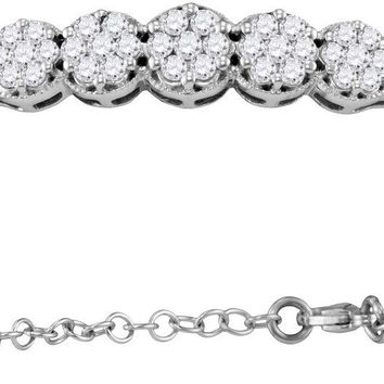 10kt White Gold Womens Round Diamond Cluster Promise Bangle Bracelet 1.00 Cttw