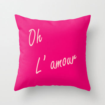 Velveteen Hot Pink Oh L'amour Pillow - Valentine's Day - Love - Pink Throw Pillow - Housewares - Home Decor - Teen Room Decor