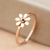 Rose gold daisy ring with diamond adjustable