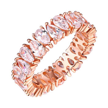 Rose Gold Bridal Ring Eternity Pear Cut Solitaire Cubic Zircon Promise Womens