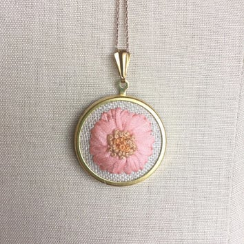Silk Ribbon Embroidery Embroidered Necklace Gerbera Pink Daisy Flower Pendant or Brooch