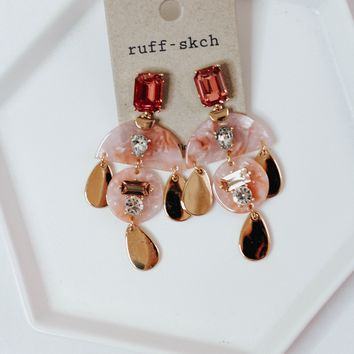Pink Tear Drop Earrings