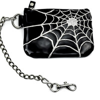 Spider Web Black Pvc & Silver Coin Purse Pouch