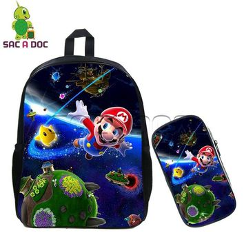 Boys bookbag trendy Kids Cartoon Super Mario Backpack 2 Pcs Set Galaxy Mario Toad School Bags Children  Boys Girls Daily Backpack Best Gift AT_51_3