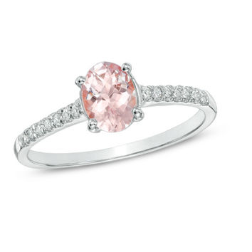 Oval Morganite and Diamond Accent Ring in 10K White Gold