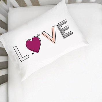 LOVE Multicolored Pillowcase (One 14x20.5 Toddler Size Pillow Case) Couples Gifts For Her - Wedding Decoration Birthday Present