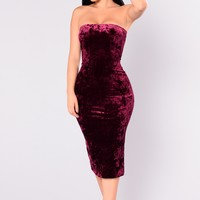 Always Around Velvet Dress - Burgundy