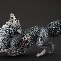 Zombie Fox Halloween Figurine Sculpture, Animal magic spirit