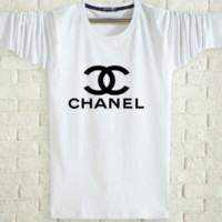 CHANEL Spring and autumn new fashion men and women letter print long sleeve tops White