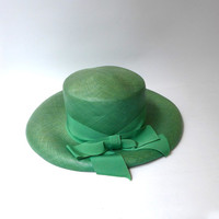 Vintage original 1970s day at the races fine woven wide brim green panama hat