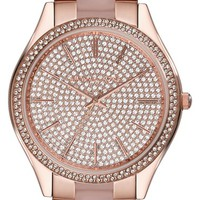 Women's Michael Kors 'Slim Runway' Pave Dial Blush Acetate Link Bracelet Watch, 42mm