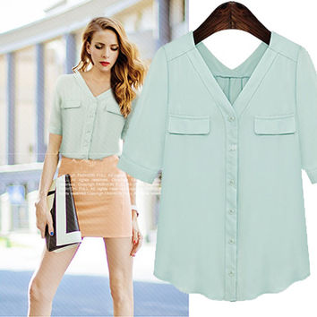 8948aV-Neck Sleeve Button-Up Chiffon Blouse