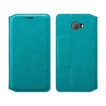 Jitterbug Smart 2 Smart2 Case, Magnetic Flip Fold Kickstand Leather Wallet Cover with ID & Credit Card Slots - Turquoise