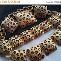 ON SALE Signed Craft Leopard Rhinestone Jewelry Set, Necklace Bracelet Earrings Brooch Parure Rare High End Hard To Find Accessories